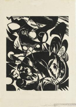 Franz Marc, Schöpfungsgeschichte I (Blatt 9 in: Bauhaus-Drucke. Neue europaeische Graphik. 3te Mappe: Deutsche Kuenstler), 1914 (1922), Staatsgalerie Stuttgart, Graphische Sammlung, Vermächtnis 1970 Annemarie Grohmann