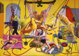 Norbert Tadeusz: Gelbes Atelier, 1985. Öl / Leinwand, 300 x 425 cm, 1985-02-01, Estate Norbert Tadeusz / Petra Lemmerz
