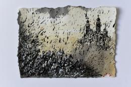 Genia Chef, Aventiure XXI, 1295, Kriemhild erreicht Kloster Passau auf ihrem Weg zu König Etzel, Mischtechnik auf Papier, 2020, 20 x 27 cm © Genia Chef