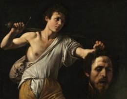 Michelangelo Merisi da Caravaggio (Mailand 1571–1610 Porto Ercole), David mit dem Haupt des Goliath, Um 1600/01, Pappelholz, 90,5 × 116 cm, Wien, Kunsthistorisches Museum © KHM-Museumsverband