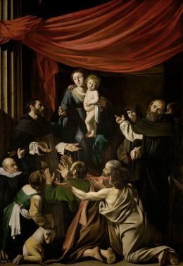 Michelangelo Merisi da Caravaggio (Mailand 1571–1610 Porto Ercole), Rosenkranzmadonna, Um 1601/03, Leinwand, 364,5 × 249,5 cm, Wien, Kunsthistorisches Museum © KHM-Museumsverband