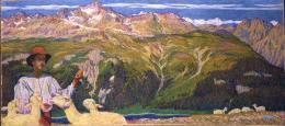 Giovanni Giacometti, Panorama von Muottas Muragl, 1897/1898, Öl auf Leinwand, Bildgrösse 67.0 x 150.0 cm (innere Teile), Bildgrösse 67.0 x 105.0 cm (äussere Teile), Bündner Kunstmuseum Chur, Depositum aus Privatbesitz