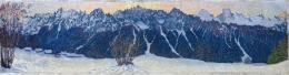 Giovanni Giacometti, Panorama in Bregaglia, um 1902, Öl auf Holz, 26.0 x 106.5 cm, Privatsammlung