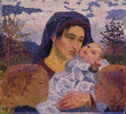 Giovanni Giacometti, La madre, 1905, Öl auf Eternit, 50 x 55 cm, Bündner Kunstmuseum Chur, Schenkung Anni Mettler-Bener, St. Gallen