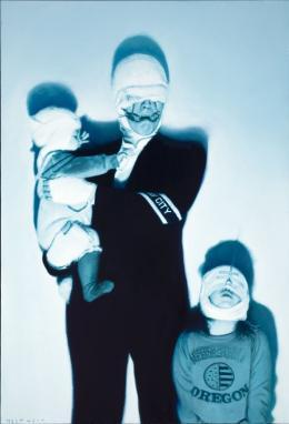 Gottfried Helnwein, Selbstportrait mit Cyril und Ali, 1988 © Landessammlungen NÖh, Foto: Peter Böttcher © Bildrecht, Wien, 2019