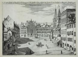 Johann Andreas Graff: Egidienplatz (früher Dillinghof) nach Norden mit Pellerhaus und romanischer Egidienkirche, 1682. Bildnachweis: Museen der Stadt Nürnberg, Kunstsammlungen