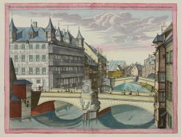 Johann Andreas Graff: Museumsbrücke über der Pegnitz nach Westen mit Viatishaus und Fleischbrücke, 1700. Bildnachweis: Museen der Stadt Nürnberg, Kunstsammlungen
