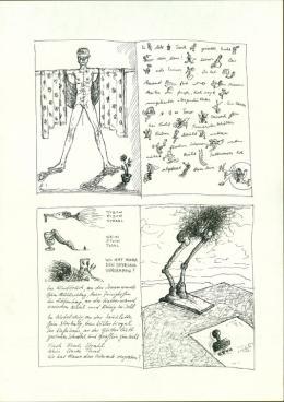 """Günter Brus und Dominik Steiger, """"Jeden jeden Mittwoch"""", 1974,  Tusche auf Papier, 29,7 x 21 cm, BRUSEUM/Neue Galerie Graz, Universalmuseum Joanneum"""