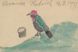 Ernst Herbeck, Ohne Titel/Untitled, 1971, Bleistift, Aqua- rellfarben/pencil, watercolours, 10,1 x 15 cm © Privat- stiftung – Künstler aus Gugging