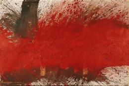 Hermann Nitsch Bodenschüttbild (aus dem Roten Zyklus, Serie I, 6-teilig), 1995 Öl und Blut auf weißgrundierter Jute Albertina, Wien. Sammlung Essl © Hermann Nitsch, Bildrecht, Wien, 2019