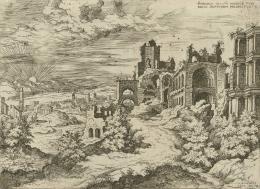 """Hieronymus Cock, """"Ruinen auf dem Palatin"""", 1550, Radierung und Kupferstich, Albertina, Wien © Albertina, Wien"""