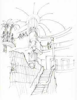 Hans Hollein, Haas-Haus, Wien, AT, 1985–1990, Skizze Atrium (c) Archiv Hans Hollein, Az W und MAK, Wien