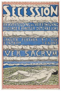 """Ferdinand Hodler, Plakat """"Secession - XIX Ausstellung der Vereinigung - Bildender Künstler Österreichs - Ver Sacrum"""", 1904 Lithografie, 96 x 64 cm, Museum für Gestaltung Zürich/ Plakatsammlung ZHdK"""