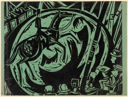 Max Sulzbachner, Hohe Schule, 1925. Holzschnitt auf grünem Papier, Blatt: 48 x 64.2 cm Bild: 47.6 x 60 cm, Inv. 2017.27, Kunstmuseum Basel- Geschenk Betty und Hartmut Raguse-Stauffer. Photo Credit: Kunstmuseum Basel Martin P. Bühler