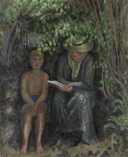 Hermann Huber, Vorlesende und Knabe, 1940/1941 Öl auf Leinwand, 100 x 81 cm Kunsthaus Zürich, 1944 © 2019 Nachlass Hermann Huber