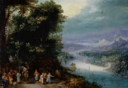 Jan Brueghel d. Ä., Waldiges Flusstal mit Fahrweg, um 1602. Öl auf Kupfer, H x B: 33 x 47.5 cm, Inv. 1089; Kunstmuseum Basel- Schenkung der Prof. J.J. Bachofen-Burckhardt-Stiftung. Photo Credit: Kunstmuseum Basel, Martin P. Bühler