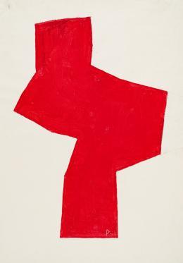 """Josef Pillhofer, """"Figur"""", 2002,  Collage, Acryl, Bleistift auf handgeschöpftem Papier, 74,5 x 50,4 cm, Privatbesitz, Foto: UMJ/N. Lackner, © Bildrecht Wien, 2021"""