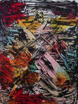 Judy Millar *1957 Be Do Be Do IV , 2013 Acryl, Siebdruck auf Leinwand, 235 × 175 cm Courtesy Galerie Mark Müller, Zürich Foto: Millar Studio