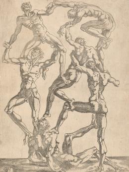 """Juste de Juste, """"Menschenpyramide"""", ca. 1545, Radierung © Albertina, Wien"""