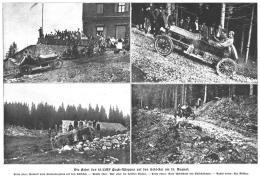 Fotografien von Karl Slevogt und Gyula Diescher im 18/22 HPuch-Wagen bei ihrer Bergfahrt auf dem Schöckl am 15. August 1909,  Quelle: Die Allgemeine Automobil-Zeitung vom 5. September 1909