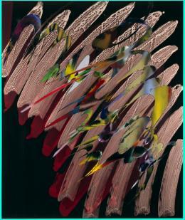 Katharina Grosse *1961 Ohne Titel , 2011 Acryl auf Leinwand, 180 × 150 cm Privatsammlung Schweiz © 2019, ProLitteris, Zurich Foto: Courtesy Galerie Nächst St. Stephan, Rosemarie Schwarzwälder, Wien