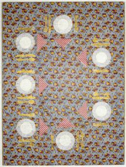 """Alfred Klinkan, """"Gedeck für sieben Zwerge"""", 1976,  Mischtechnik auf Geschenkpapier, kaschiert auf Karton, Neue Galerie Graz, Foto: Universalmuseum Joanneum/N. Lackner"""