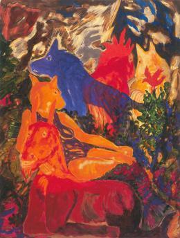 """Alfred Klinkan, """"Ohne Titel"""" (Aus der """"Sommerserie""""), 1983,  Öl auf Leinwand, Foto: J. Koinegg/Neue Galerie Graz"""
