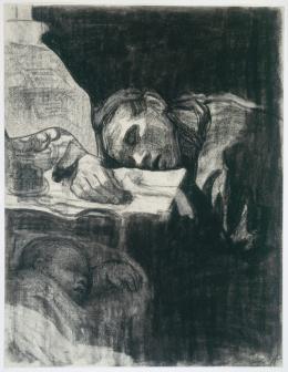 Käthe Kollwitz, Heimarbeit (oder Schlafende Mutter), 1909 Blatt 1 der Folge Bilder vom Elend Kreide, schwarz, gewischt, 58,2 x 45 cm Kunsthalle Bremen – Der Kunstverein in Bremen, Kupferstichkabinett