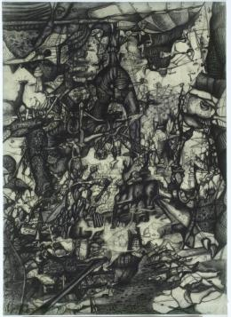 Maria Lassnig, Der Elefant, 1950, Bleistift/Transparentpapier, 63 x 45,3 cm, Maria Lassnig Stiftung, Foto: Roland Krauss, © Maria Lassnig Stiftung