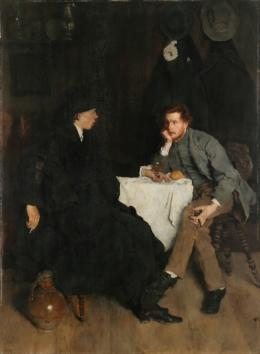 Wilhelm Leibl, Im Atelier, um 1868/69 Öl auf Holz, 102,5 x 76,5 cm Oblastní galerie, Liberec, Baron Heinrich von Liebig's bequest, 1904