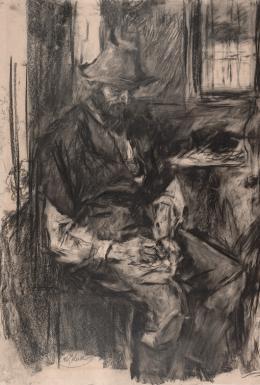 Bauer am Tisch, seine Pfeife stopfend, 1894 Schwarze Kreide und Kohle, teilweise gewischt, auf Papier Albertina, Wien
