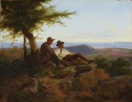 Carl Friedrich Lessing, Zwei Jäger (Die Freunde Lessing und Schirmer), 1841, Öl auf Leinwand, auf Holz Düsseldorf, Kunstpalast © Kunstpalast, Foto: Horst Kolberg - Artothek
