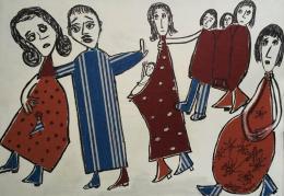 """Linda Naeff, """"Die Familie"""", 2001, Mischtechnik, Collage, 65×94 cm, © Nachlass Linda Naeff"""