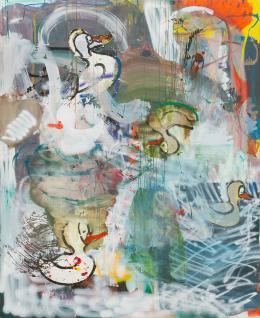 Lipp&Leuthold, Bewusste Falschmeldung, 2020 Acryl auf Leinwand, 220 x 180 cm, Courtesy the artists