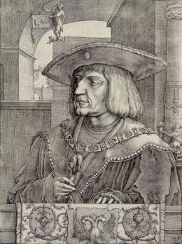"""Lucas van Leyden, """"Maximilian I."""", 1520, Radierung und Kupferstich Albertina, Wien © Albertina, Wien"""