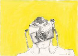 Maria Lassnig, Camera Cannibale, 1998, Aquarellierte Zeichnung auf Papier, Albertina, Wien – The Essl Collection © Maria Lassnig Stiftung/ Bildrecht, Wien 2021