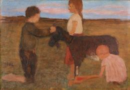 Paula Modersohn-Becker, Landschaft mit drei Kindern und Ziege, 1902 © Lentos Kunstmuseum Linz