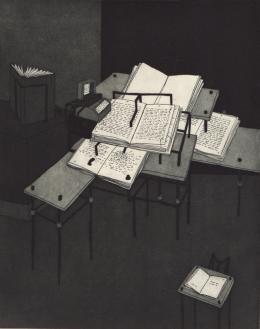 Eva Möseneder, Literaturmaschine, 1984, Strichätzung mit Aquatinta, 24,5 x 19,5 cm