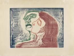 Edvard Munch, Kopf bei Kopf, 1905 Holzschnitt, blau, braunrot, grün und rot auf gelblichem Papier, 39,5 x 54 cm Kunsthaus Zürich