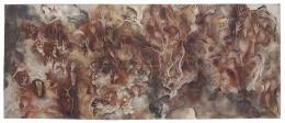 Hand- und Fusssilhouetten, Indonesien, Westpapua, Abba, 1937–1938, Albert Hahn, Öl auf Leinwand, 230 × 480 cm © Frobenius-Institut