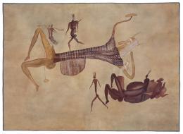 Liegender mit Hörnermaske, Simbabwe, Rusape, Diana Vow, 1929, Agnes Schulz, Aquarell auf Papier, 105,5 × 147 cm © Frobenius-Institut