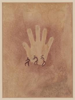 Hand mit drei kleinen Figuren, Ägypten, Gilf el-Kebir, Wadi Sura, 1933, Elisabeth Charlotte Pauli, Aquarell auf Papier, 49,5 × 34,5 cm © Frobenius-Institut