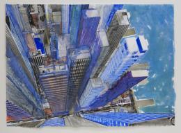 Gottfried Salzmann - New York, blue riverside - 2018, Aquarell auf Papier, 54 x 74,5 cm  © Galerie Welz