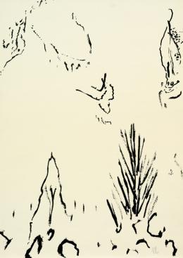 """Max Weiler, Ohne Titel, 1962, Feder in Tusche auf Papier, 88,2 x 62,6 cm, monogrammiert r. u. """"MW62"""" © Robert Najar"""