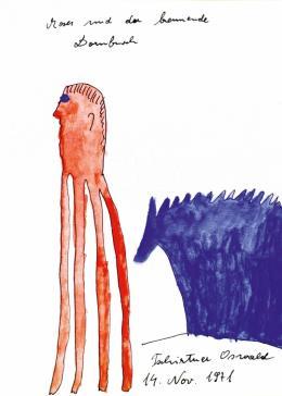 Oswald Tschirtner, Moses und der brennende Dornbusch, 1971, Sammlung Hannah Rieger © Privatstiftung – Künstler aus Gugging