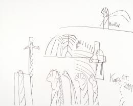 Oswald Tschirtner, =Himel, 2001, Edding auf Leinwand, 160 x 200 cm (c) Privatstiftung - Künstler aus Gugging
