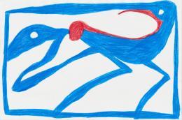 Ohne Titel, aus der Reihe Noli me tangere, 2015, Farbstiftzeichnung Caran d'Ache auf Fabriano Zeichenpapier, 32 x 48 cm, Kunstmuseum Solothurn, Depositum der Walter Borrer-Stiftung
