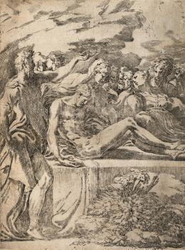 """Parmigianino, """"Die Grablegung Christi"""", ca. 1529–1530, Radierung © Albertina, Wien"""