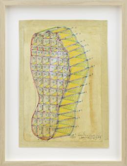 Paul Neagu, Human Foot, 1969, Zeichnung auf Papier, auf Leinwand montiert, 35 × 27 cm, Kunstmuseum Liechtenstein, Vaduz © The Paul Neagu Estate / 2021, ProLitteris, Zürich