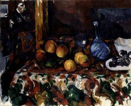 Paul Cezanne: Pfirsiche, Karaffe und Figur, um 1900. Öl auf Leinwand, 60 x 73 cm; Museum Langmatt